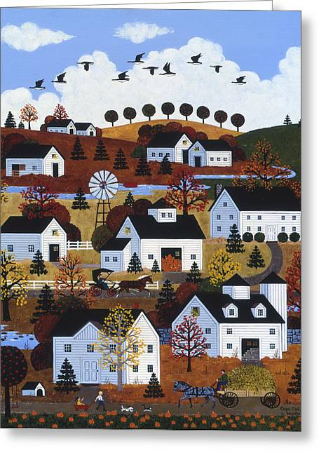Horse And Buggy Paintings Greeting Cards - Cape Cod Autumn Greeting Card by Jane Wooster Scott
