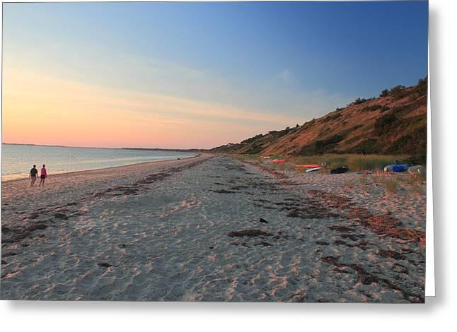 Cape Cod Tourism. Greeting Cards - Cape Cod Bay Evening Beach Walk Greeting Card by John Burk