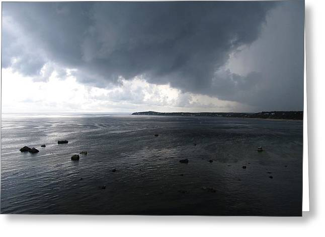 Storm Clouds Cape Cod Greeting Cards - Cape Cod Bay from Plymouth Bluffs Greeting Card by Nathan Marcy