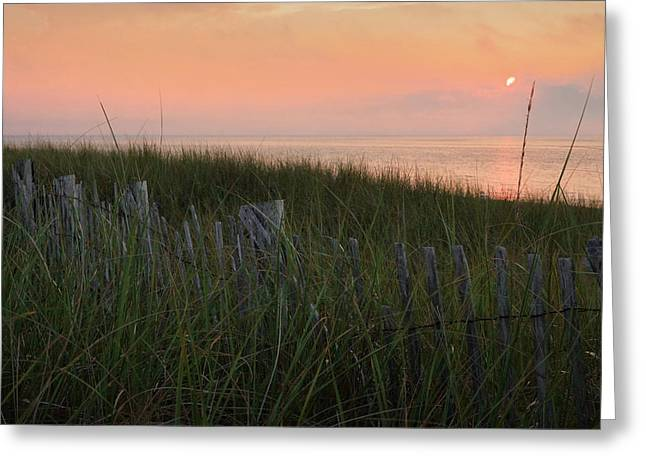 Cape Cod Bay Sunset Square Greeting Card by Bill Wakeley