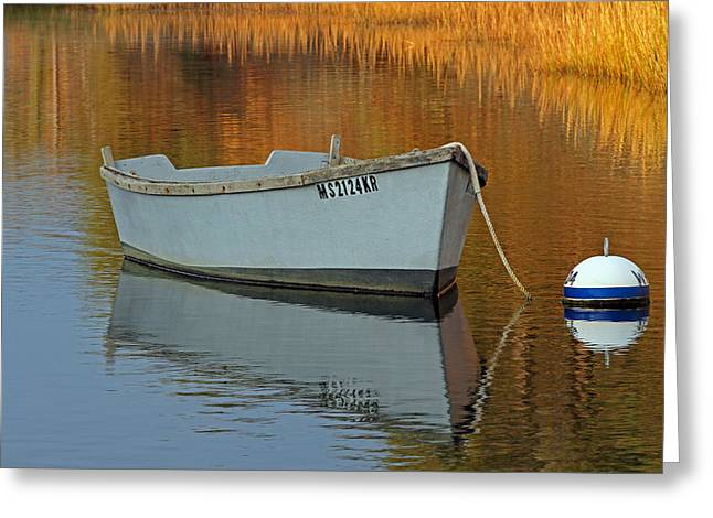 Harwich Greeting Cards - Cape Cod Harbor Dinghy Greeting Card by Juergen Roth