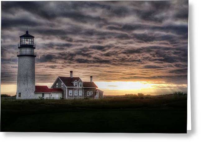 Storm Clouds Cape Cod Greeting Cards - Cape Cod Lighthouse Greeting Card by TK Goforth