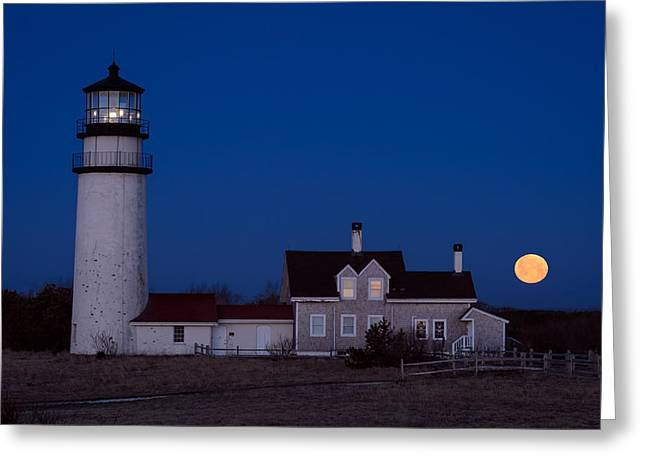 Cape Cod Moonset Greeting Card by Michael Blanchette