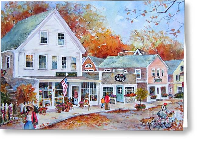 New England Village Paintings Greeting Cards - Cape Cod Village Greeting Card by Sherri Crabtree