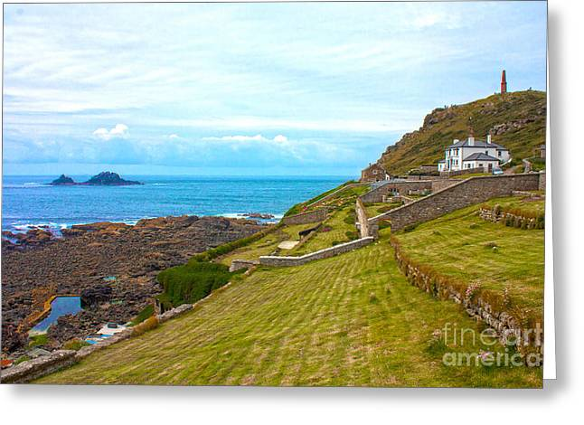 Stepping Stones Greeting Cards - Cape Cornwall Greeting Card by Terri  Waters