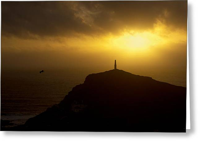 Cape Cornwall Greeting Cards - Cape Cornwell Sunset Greeting Card by Pete Hemington