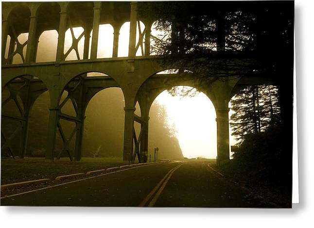 Foggy Day Mixed Media Greeting Cards - Cape Creek Bridge Greeting Card by Alicia Kent