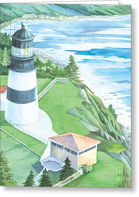 New England Lighthouse Paintings Greeting Cards - Cape Disappointment Lighthouse Greeting Card by Paul Brent