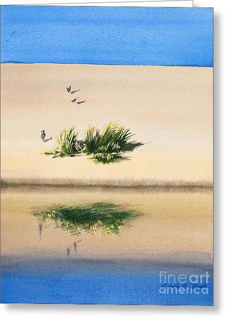 Sand Dunes Paintings Greeting Cards - Cape Dune Watercolor Greeting Card by Michelle Wiarda