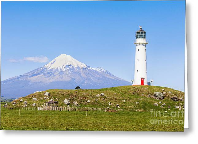 North Island Greeting Cards - Cape Egmont Lighthouse and Taranaki Greeting Card by Colin and Linda McKie
