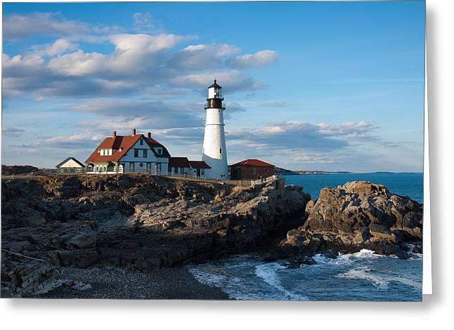 Maine Beach Greeting Cards - Cape Elizabeth Lighthouse Greeting Card by Will Gunadi