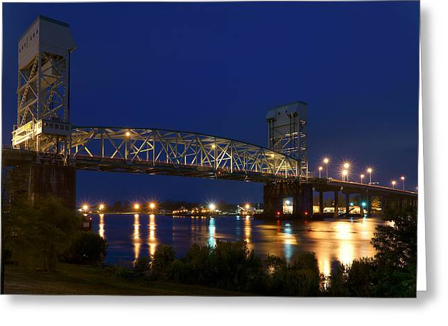 Cape Fear River Greeting Cards - Cape Fear Memorial Bridge 2 - North Carolina Greeting Card by Mike McGlothlen