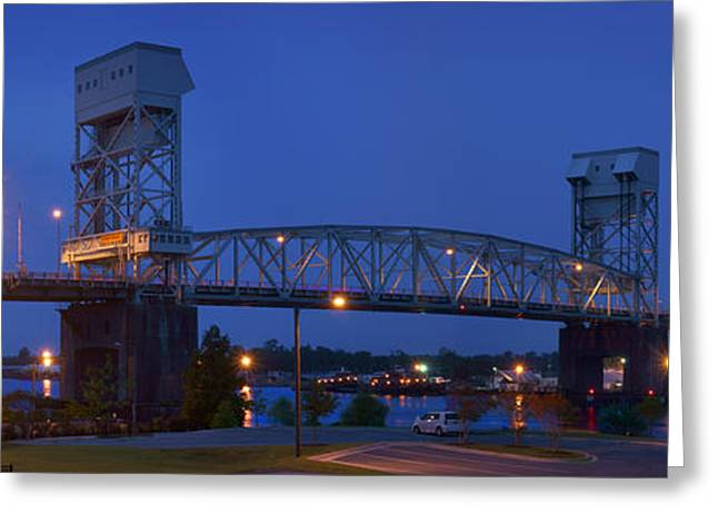 Cape Fear River Greeting Cards - Cape Fear Memorial Bridge - Wilmington North Carolina Greeting Card by Mike McGlothlen