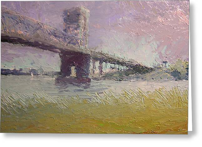 Fairy Painter Greeting Cards - Cape Fear River Bridge Greeting Card by Dan Smart