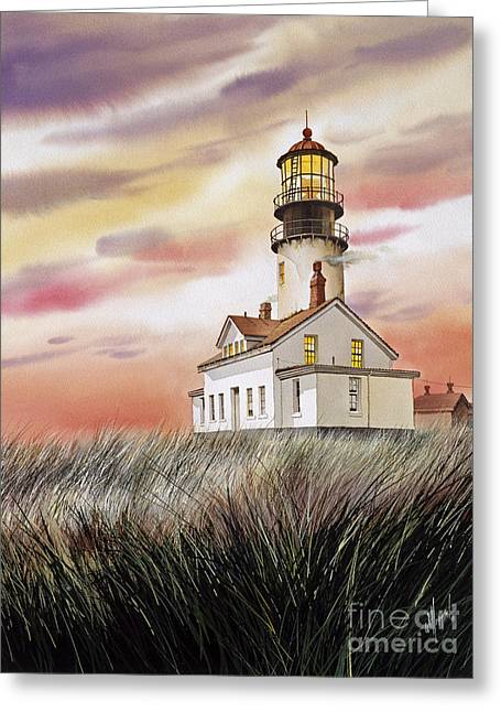 Landscape Framed Prints Greeting Cards - Cape Flattery Lighthouse Greeting Card by James Williamson