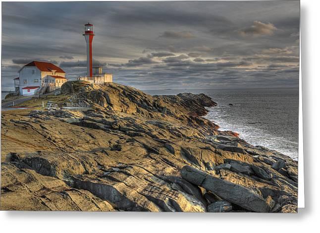 Ocean Shore Greeting Cards - Cape Forchu Lightstation Nova Scotia Greeting Card by Scott Leslie