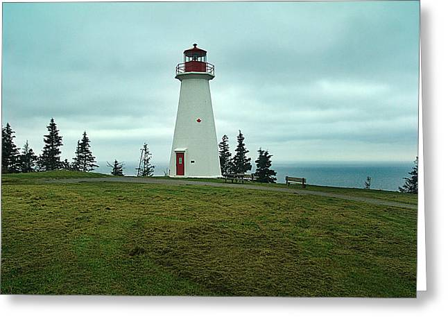 Cape George Lighthouse Greeting Card by Janet Ashworth