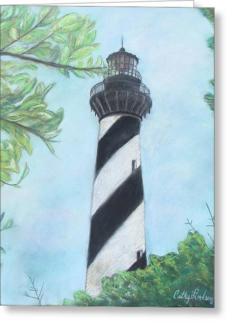Brick Pastels Greeting Cards - Cape Hatteras Light Greeting Card by Cathy Lindsey