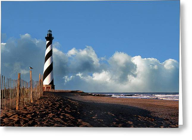 White Photographs Greeting Cards - Cape Hatteras Light Greeting Card by Skip Willits