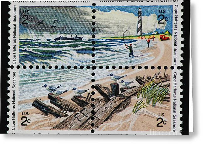 Landscape Posters Greeting Cards - Cape Hatteras National Park Vintage Postage Stamp Print Greeting Card by Andy Prendy