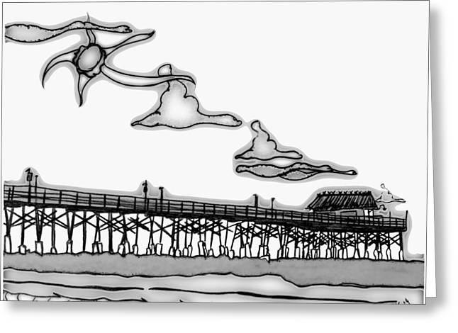 Cape Light Pier Greeting Card by W Gilroy