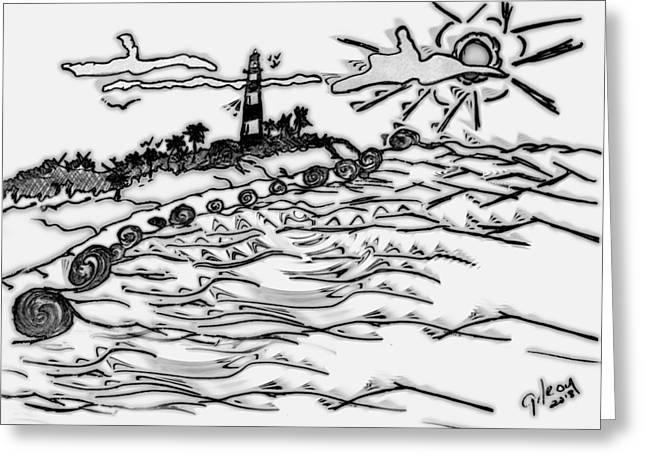 Primitive Pyrography Greeting Cards - Cape Light Greeting Card by W Gilroy