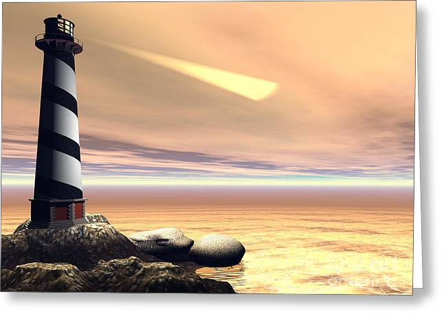 Pharos Greeting Cards - Cape Lookout Greeting Card by Corey Ford