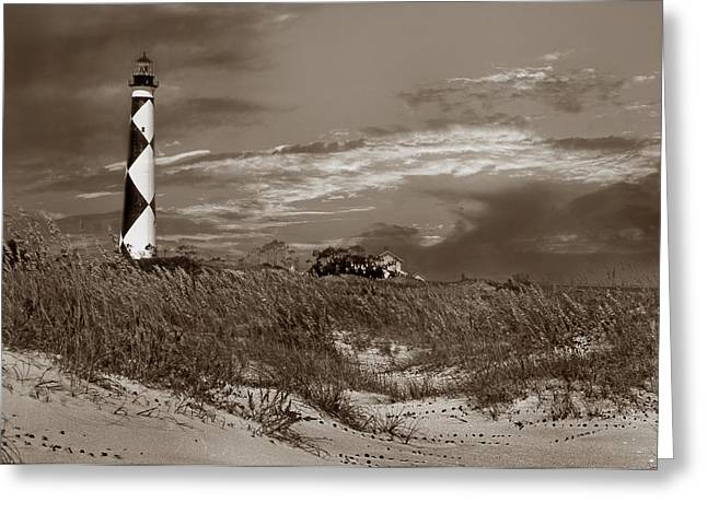 Cape Lookout Greeting Cards - Cape Lookout In Sepia Greeting Card by Skip Willits