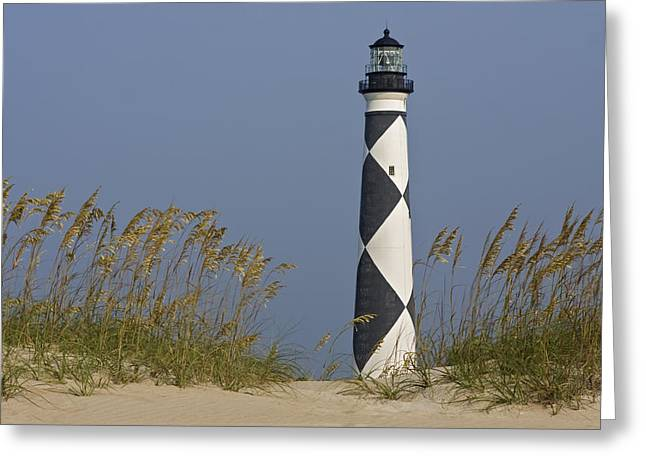 Recently Sold -  - Sand Patterns Greeting Cards - Cape Lookout Lighthouse Greeting Card by Bob Decker