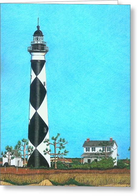 Harkers Greeting Cards - Cape Lookout Lighthouse Greeting Card by Karen Rhodes