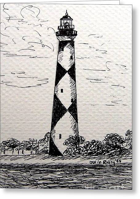 North Shore Drawings Greeting Cards - Cape Lookout Lighthouse NC Greeting Card by Julie Brugh Riffey