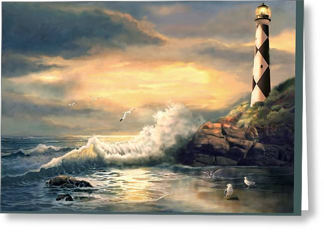 Sea With Waves Greeting Cards - Cape Lookout Lighthouse North Carolina at Sunset  Greeting Card by Gina Femrite