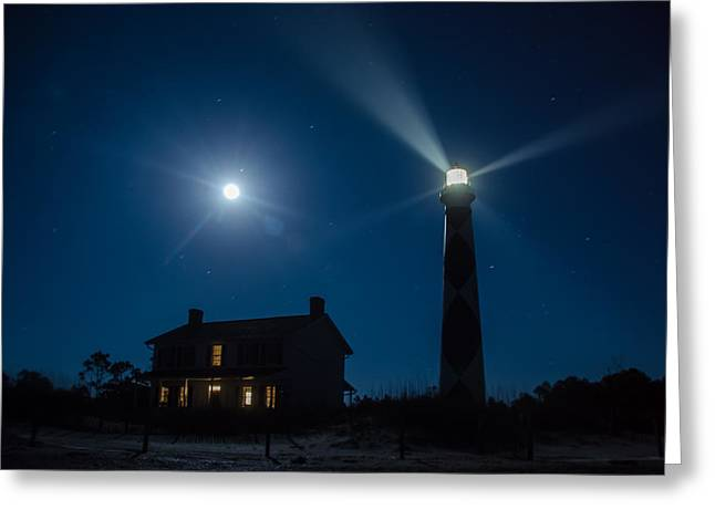 Moonrise Greeting Cards - Cape Lookout Moonrise Greeting Card by Steve Barry