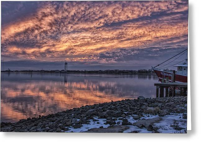 Recently Sold -  - Boats In Harbor Greeting Cards - Cape May Harbor Sunrise Greeting Card by Tom Singleton