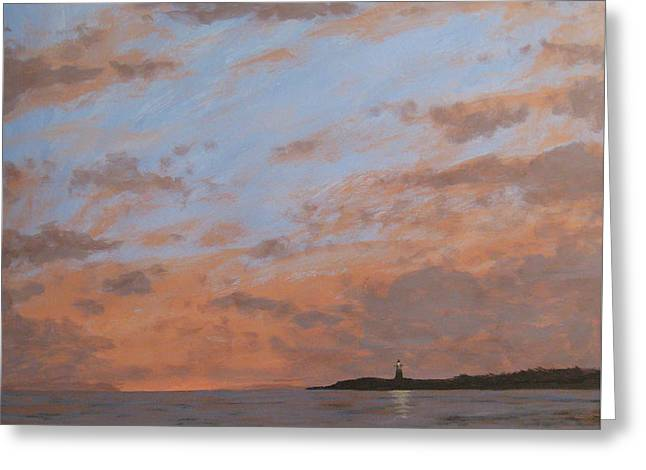 Jersey Shore Paintings Greeting Cards - Cape May Lighthouse at Dusk Greeting Card by Matthew Hannum