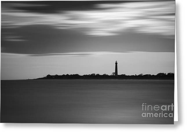 Jerseyshore Greeting Cards - Cape May Lighthouse Long Exposure bw Greeting Card by Michael Ver Sprill