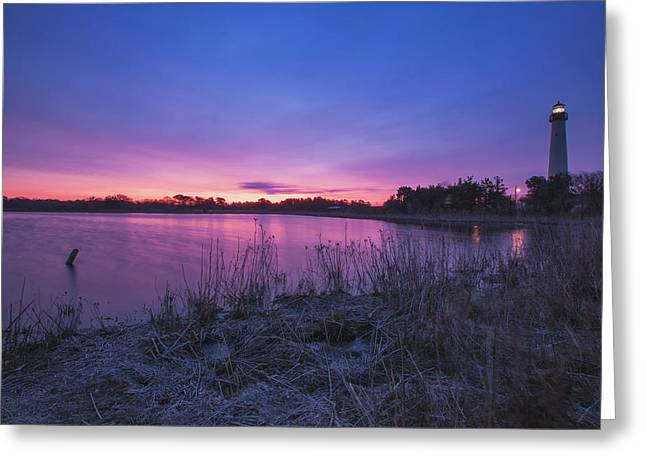 Lighthouse By The Sea Greeting Cards - Cape May Point Winter Dawn Greeting Card by Tom Singleton