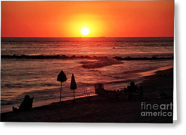 Beach At Night Greeting Cards - Cape May Sunset Greeting Card by John Rizzuto