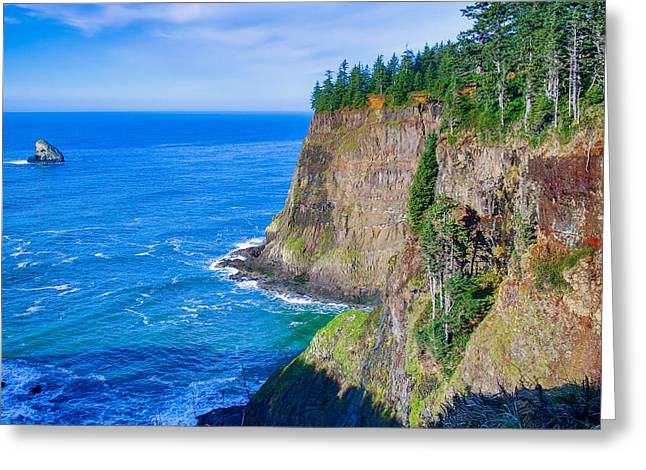 Sea View Tapestries - Textiles Greeting Cards - Cape Meares  Greeting Card by Dennis Bucklin