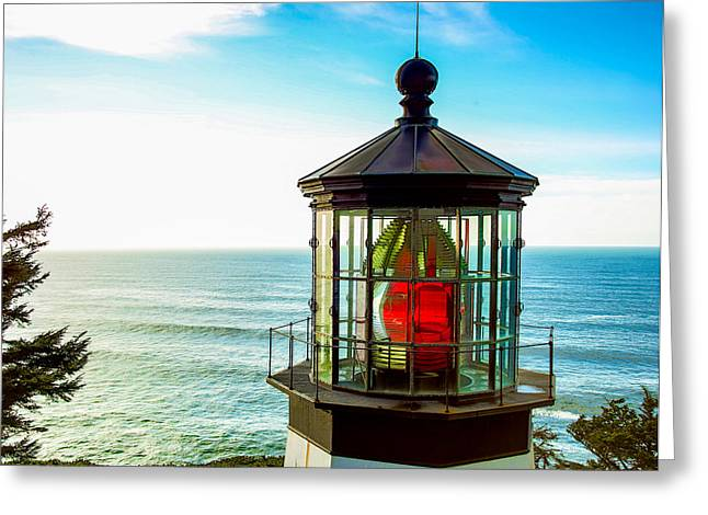 States Tapestries - Textiles Greeting Cards - Cape Meares Lighthouse Greeting Card by Dennis Bucklin