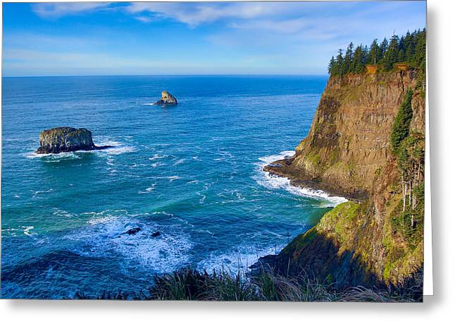 States Tapestries - Textiles Greeting Cards - Cape Meares View Greeting Card by Dennis Bucklin