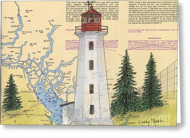 Nautical Chart Greeting Cards - Cape Mudge Lighthouse BC Canada Nautical Chart Map Art Greeting Card by Cathy Peek