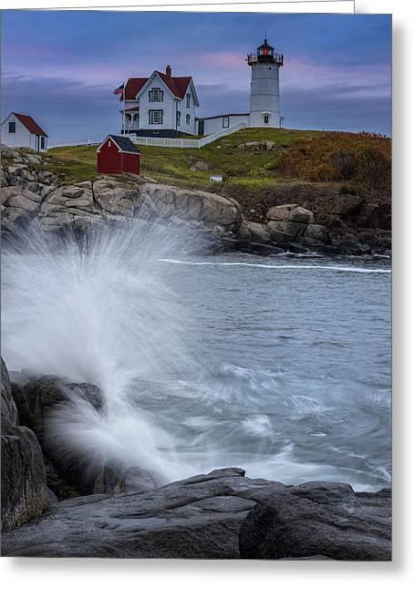 Cape Neddick Lighthouse Greeting Cards - Cape Neddick Dusk Greeting Card by Rick Berk