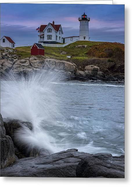 Nubble Greeting Cards - Cape Neddick Dusk Greeting Card by Rick Berk