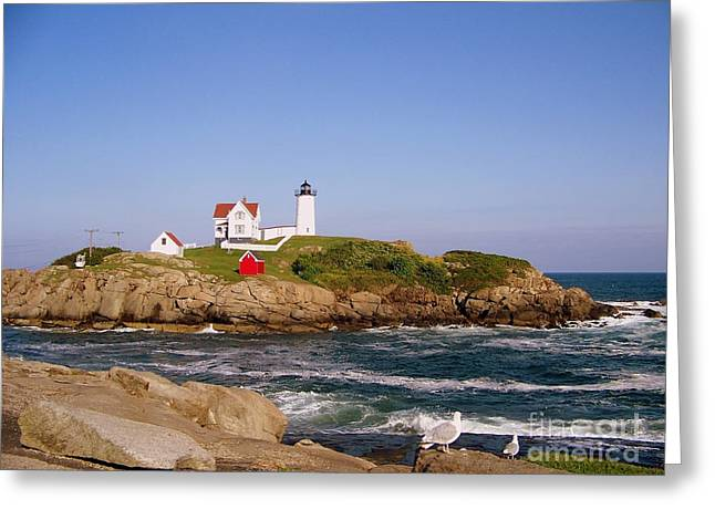 Cape Neddick Lighthouse Greeting Cards - Cape Neddick s Nubble Lighthouse Greeting Card by Eunice Miller