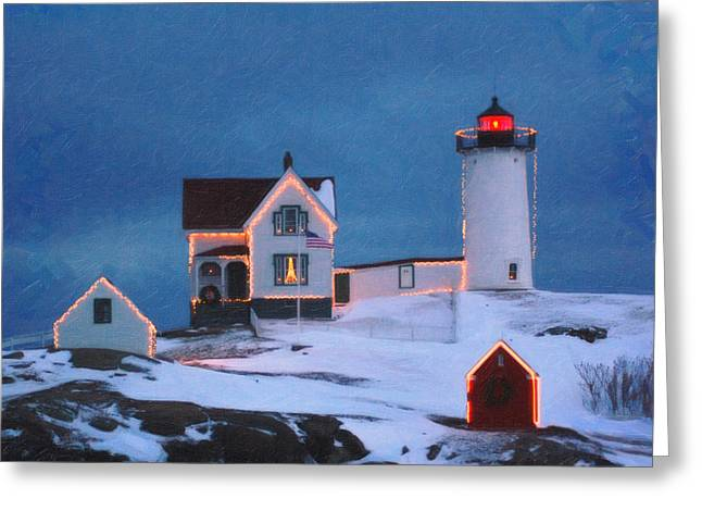 Difficulties Love Greeting Cards - Cape Neddick Light Maine art Greeting Card by MotionAge Designs