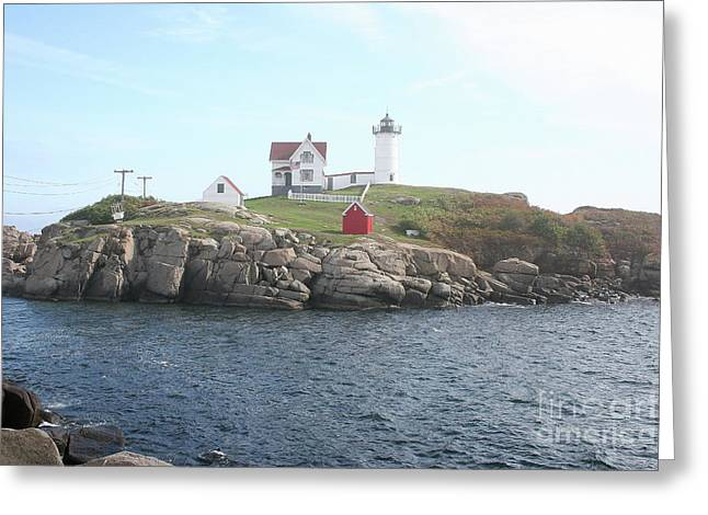 Cape Neddick Greeting Cards - Cape Neddick Light On A Misty Morning Greeting Card by Christiane Schulze Art And Photography