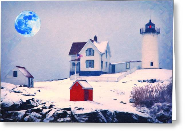 Difficulties Love Greeting Cards - Cape Neddick Light snow art Greeting Card by MotionAge Designs