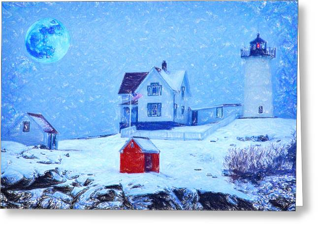 Difficulties Love Greeting Cards - Cape Neddick Light snow pastel Greeting Card by MotionAge Designs