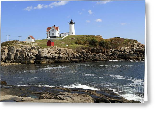 Cape Neddick Greeting Cards - Cape Neddick Lighthouse 2 Greeting Card by John Van Decker